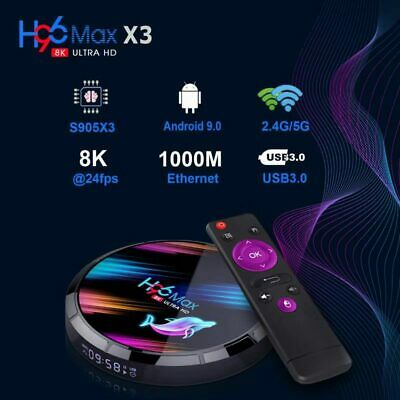 H96 Max X3 Smart TV Box Android9.0 S905X3 4G 128GB 1000M LAN Wifi 8K Voice Media