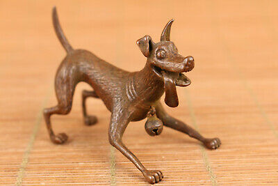 Fine chinese old red copper hand carved dog statue netsuke unique table deco