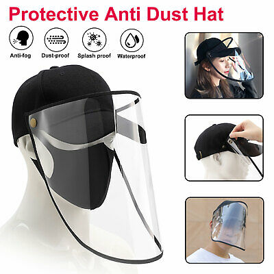 Splash Face Saliva-proof Anti-fog Cap Full Face Protective Shield Clear Sun Hat