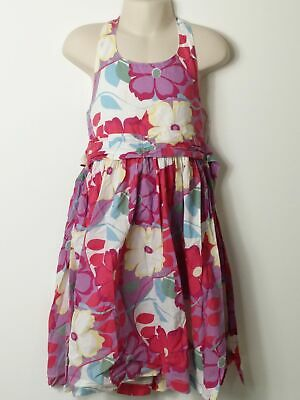 Girls Monsoon Lilac Pink White Floral Halterneck Summer Dress Age 5-6 Years