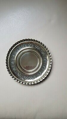 Patterned Silver Coloured Heavy Dish 7 inch diameter.