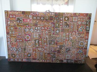 LARGE ANTIQUE INDIAN TAPESTRY FRAMED 214cm x 137cm VERY BRIGHT & COLOURFUL