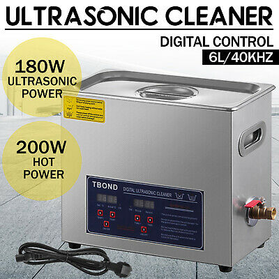 6L Industry Stainless Steel Ultrasonic Cleaner Heated Heater Tank with Timer US