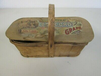 Antique 1940'S New York State Wooden Grape Container With Handle Used Condition