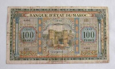 1944 Currency Morocco 100 Francs Banknote P 27 Printed in Philadelphia PA