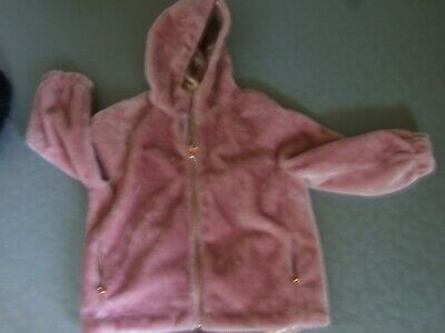 Ted Baker Girls dusty pink zip up hooded furry jacket age 9 - 10  gold lining