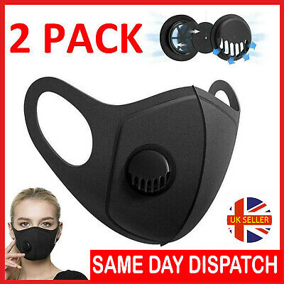 2x Face Mask Black Washable Air Purifying Mouth Filter Respirator UK Seller
