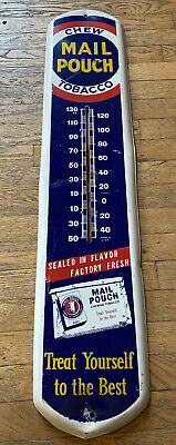"""Antique Mail Pouch Metal Thermometer 39"""" Broken Probe"""