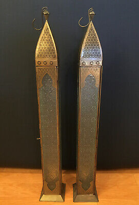 Pair Of Vintage Moroccan Lanterns Brass With Patterned Glass