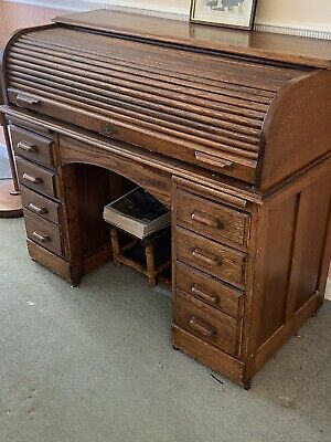 Antique Very Old Roll Top Desk Vgc