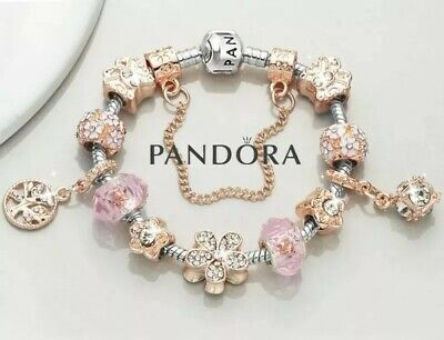 Authentic PANDORA Bracelet Silver with Rose Gold Love Heart European Charms New