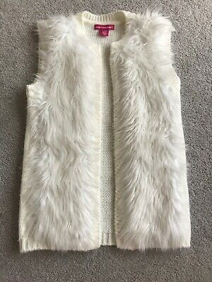 Girls Knit Ivory Gilet Cardigan Jacket With Faux Fur Front Age 6-7 Yrs