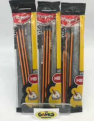 3 x Maped Black Peps Graphite Pencils Pack of 3 Brand New