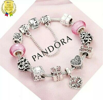 Authentic Pandora Bracelet Silver MOTHER Love Wife Mom with European Charms