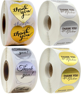 x100 Thank You Stickers Purchase Labels Gold Silver Round Heart Hand Made Shiny