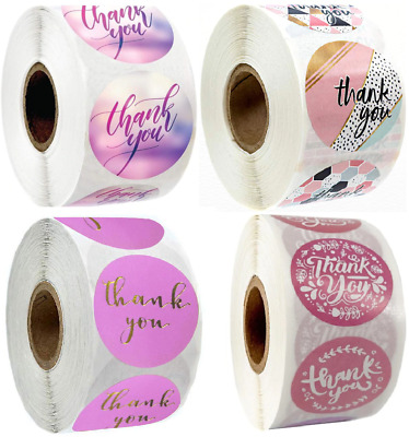 x100 Thank You Stickers Pink Red Purple Wedding Birthday Party Flowers Labels