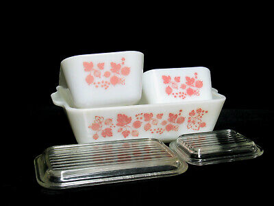 PYREX PINK GOOSEBERRY 3 REFRIGERATOR DISHES 501 & 502 w/LIDS and 503 NO LID GUC