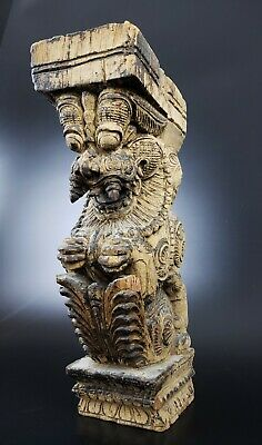 Antique Hand Carved Wood Yali From India - #4