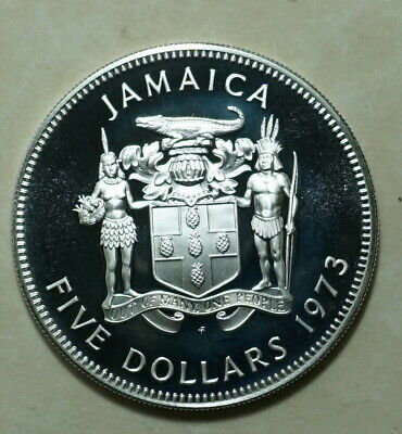 1973 Jamaica 5 dollars PROOF Sterling Silver .925 COIN 36.000 minted 41.48 GRAMS