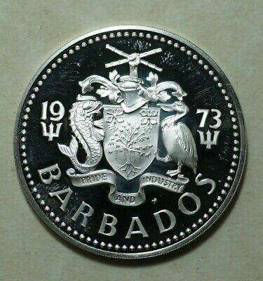 1973 Barbados Proof 5 Dollars .800 SILVER COIN 31.1 gms 40 mm diam 97,000 minted