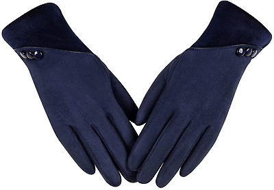 Womens Winter Warm Gloves, Contrast Color Design Touchscreen Texting Fleece Line