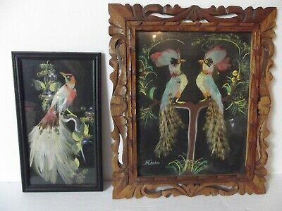 2 Wall Feather Art, Exotic Birds hand made in Mexico vtg carved wood frame