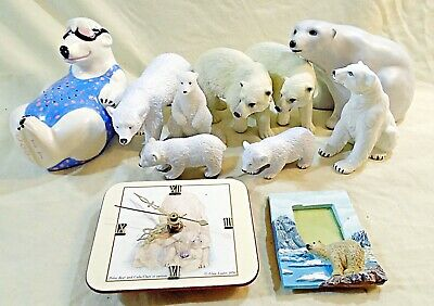 POLAR BEAR collection LOT of 11 clock PICTURE FRAME figures SCULPTURE wildlife
