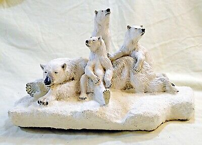 """POLAR BEAR FAMILY mom & cubs LARGE figurine """"SECOND NATURE DESIGN""""  weighs 9 LBS"""