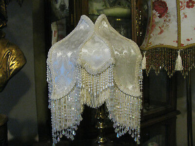 Victorian French Small TULIP Lamp Shade Ivory with Pearl and  Bead Fringe!