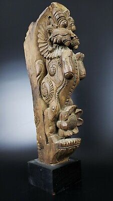 Stunning Antique Hand Carved Wood Yali From India - #7