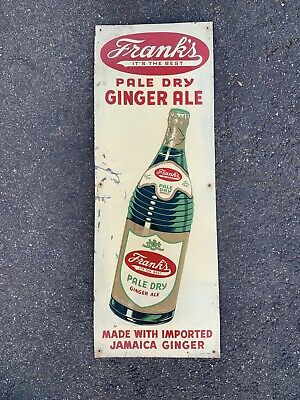 Frank's Pale Dry Ginger Ale Soda Metal Advertising Sign-Coco-Cola 31.5x11.5