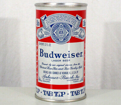 Budweiser Tab-Top Fan Tab Ring Pull Beer Can Anheuser-Busch Newark New Jersey Nj