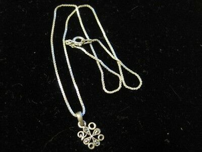 Dainty Sterling Silver Box Link Chain with Marcasite Pendant Baby Necklace WOW