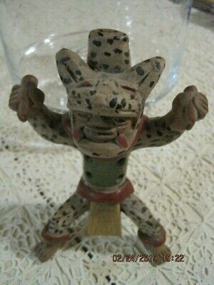 "KACHINA CLAY or EARTHENWARE FIGURE WHISTLE Folk Art 6 1/2"" Elaborately Painted"