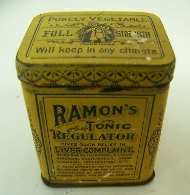 Ramons Tonic Regulator liver medicine tin can Brown Mfg Greenville Tennessee TN