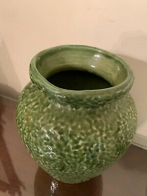 """Antique Sea Green Rippled Art Pottery Vase or Urn, 8"""" High, 75 CentUnknown Maker"""
