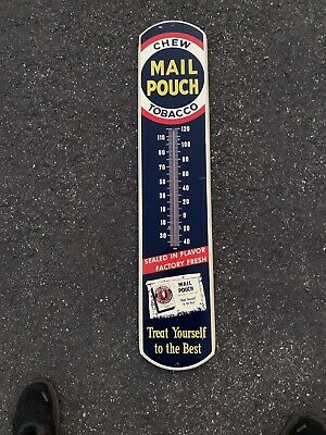 Tin Metal Chew Mail Pouch Tobacco Advertising Sign Thermometer 39x8