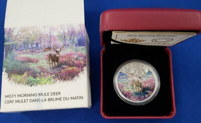 2015-Canada Pf  $20 1ozt .999 Silver Coloriz Misty Morning Mule Deer Coin L7165