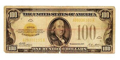 1928 $100 Gold Certificate Bill / Note / Currency - Woods/Mellon