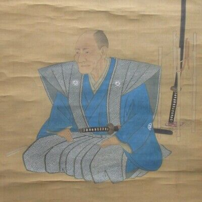 J182: Real old Japanese hanging scroll of historical SAMURAI with swords