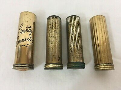 Lot Of (4) Vintage Ladies MC Metal Lipstick Cases Assorted Beauty Counselor