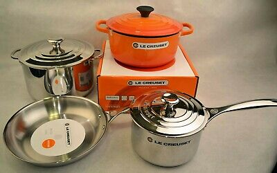 Le Creuset 7-Piece Stainless Steel and Enameled Cast Iron Cookware Set, Flame