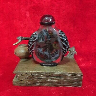 Antique Collection Asian Chinese Mountain Village Old Peking Glass Snuff Bottle