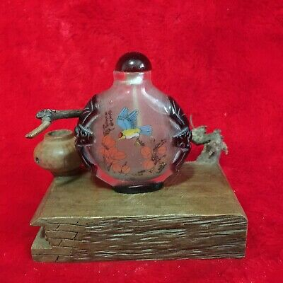 Rare Old Antique Collection Asian Chinese Bird Peking Glass Snuff Bottle
