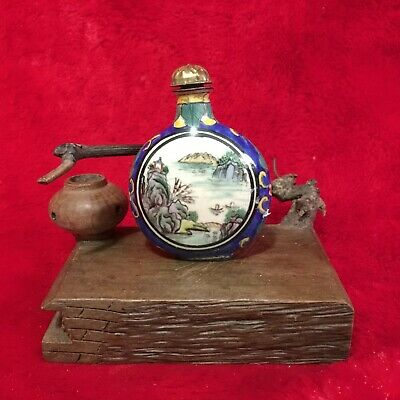 Antique Collection Asian Chinese Mountain Village Old Cloisonne Snuff Bottle