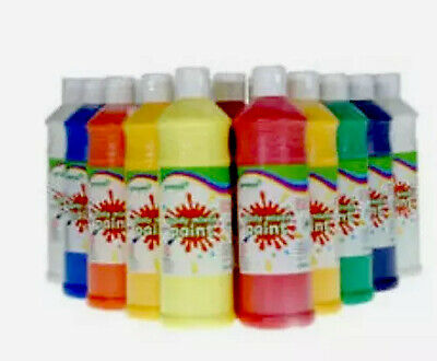 10 X 600ML Ready Mix Poster Paint children Bulk School Kids NEW FREE DELIVERY!!