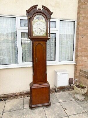 Grandfather Longcase clock Brass faced Moon Dial By Rich Jackson Hexham oak case