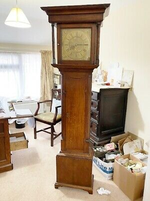 Grandfather Longcase clock Brass faced 30 hour Isaac Howden Kendall oak case