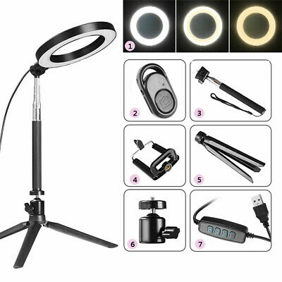 Illuminated 5in 1 LED Ring Light Make Up Cosmetic Camera Lighting & Tripod Stand
