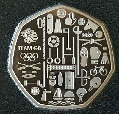 2020 Elizabeth II 50p Fifty Pence PROOF Coin, Team GB Tokyo Olympics
